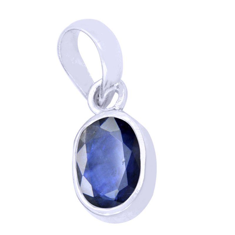 Buy Designer 4.25 Ct Certified Blue Sapphire Silver Pendant online