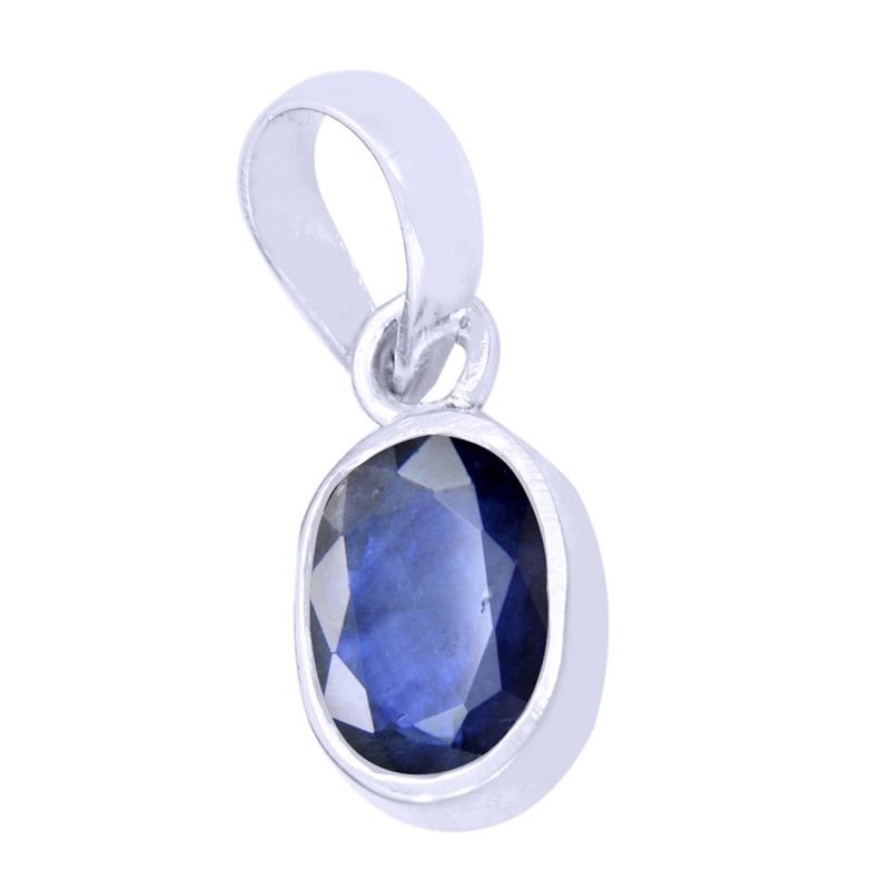 Buy Natural 9.25 Ct Certified Blue Sapphire Silver Pendant online