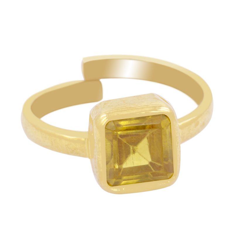 Buy Certified 6.25 Ct Yellow Zircon Gemstone Panchdhatu Adjuatable Ring online