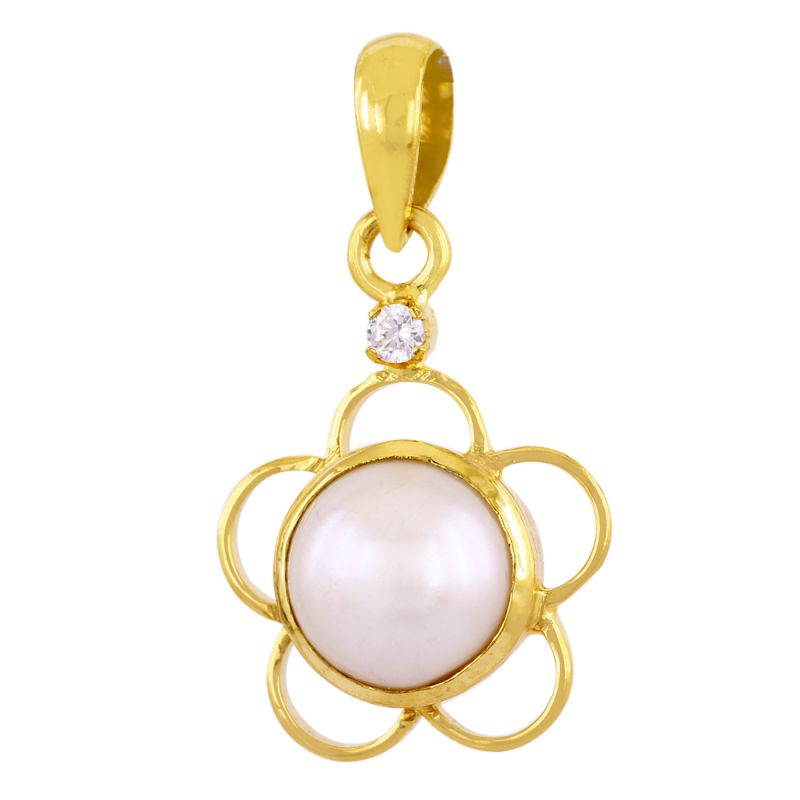 Buy Nirvanagemsdesigner Natural 8 Ct Pearl (moti) Gemstone Panchdhatu Pendant online