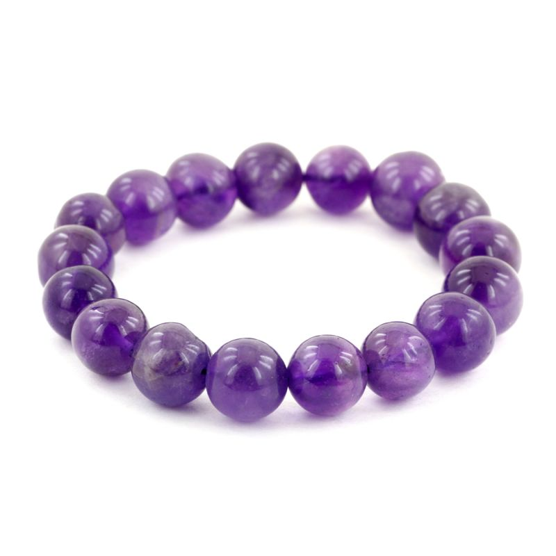 Buy Nirvanagems Handmade 11mm Round Beads Natural Amethyst Gemstone Adjustable Bracelet online