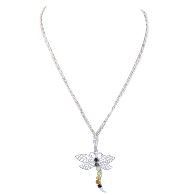Buy Nirvanagems 7 Chakra Butterfly Gemstones Silver Pendant With Chain For Astrological Benefits online
