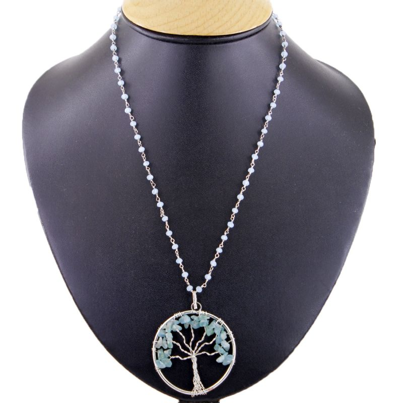 Buy Nirvanagems 55.90ct Natural Tree Design Aquamarine Gemstone Silver Pendant With Chain online