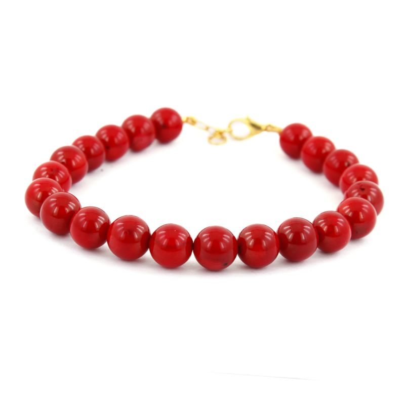 Buy Nirvanagems Designer 9mm Natural Red Coral Round Beaded Gemstone ...