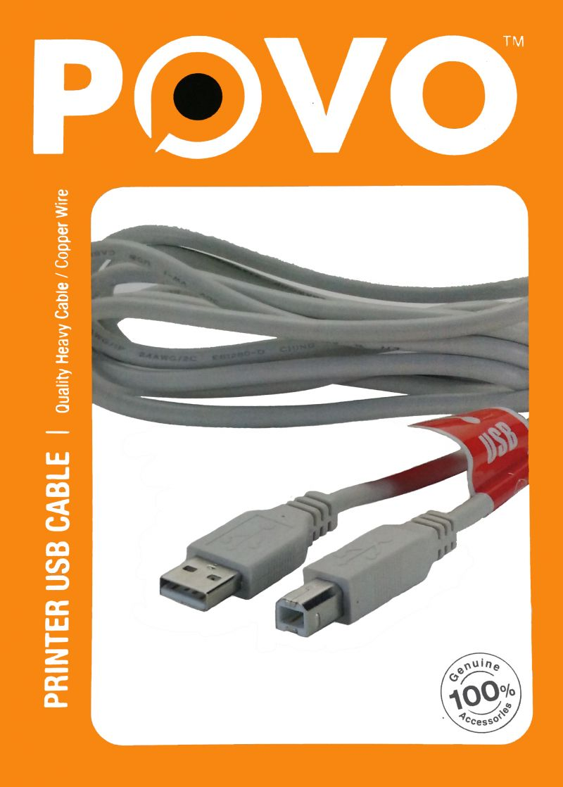 Buy Povo Travel USB Printer Cable 5mtr For PC / Desktop / Lan -305119 online