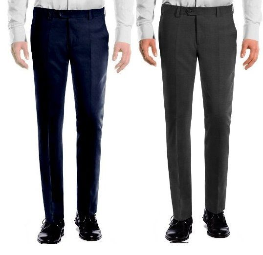 Buy Amar Deep Formal Trouser Pack Of 2 - Blue Grey online