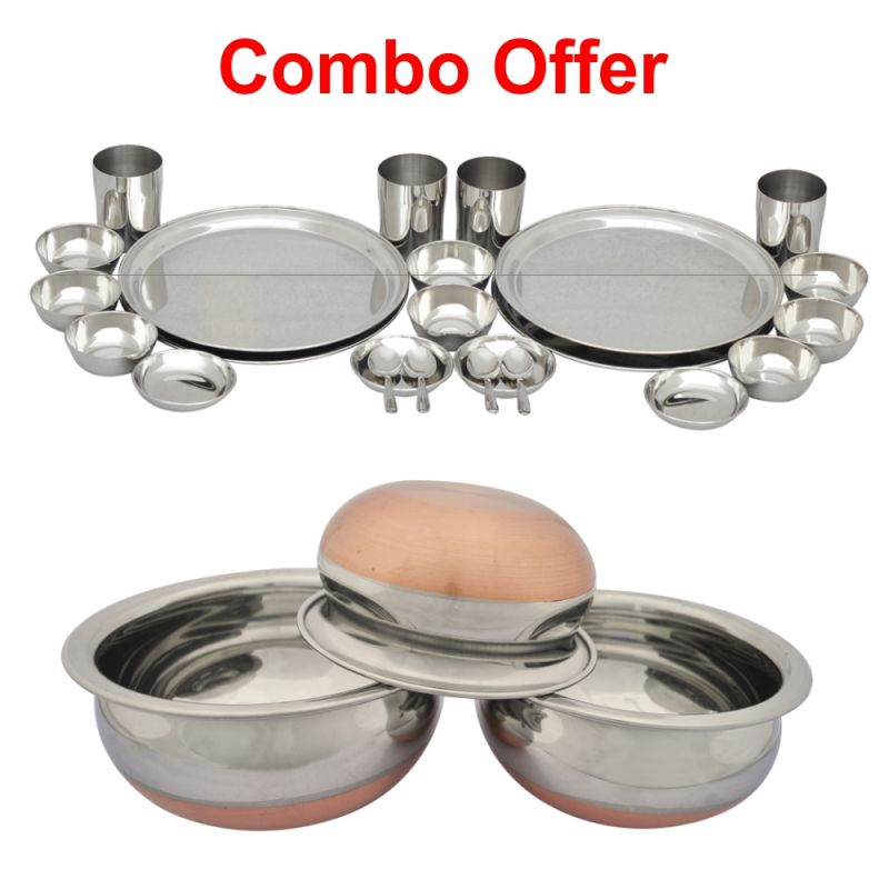 Buy Czar Combo Of 24 PC Stainless Steel Dinner Set With 3 PC Stainless Steel Serve Pots online