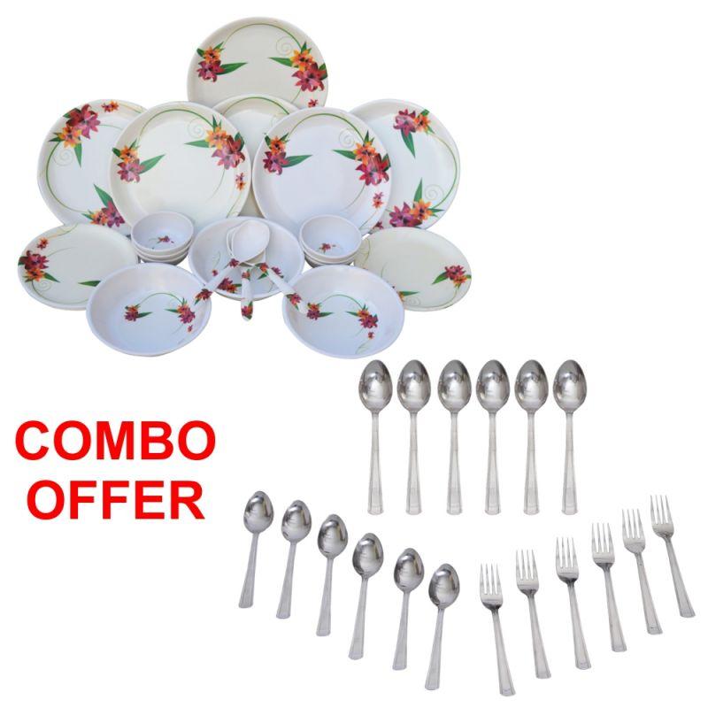 Buy Czar Combo Of 24 PCs Dinner Set-1011 With Sleek 18 PCs Cutlery Set online