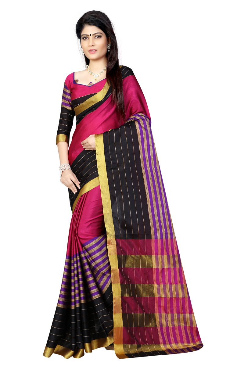 Buy Vedant Vastram Pink Colour Poly Silk Chanderi Printed Saree (code - Vvm_1023_pink) online