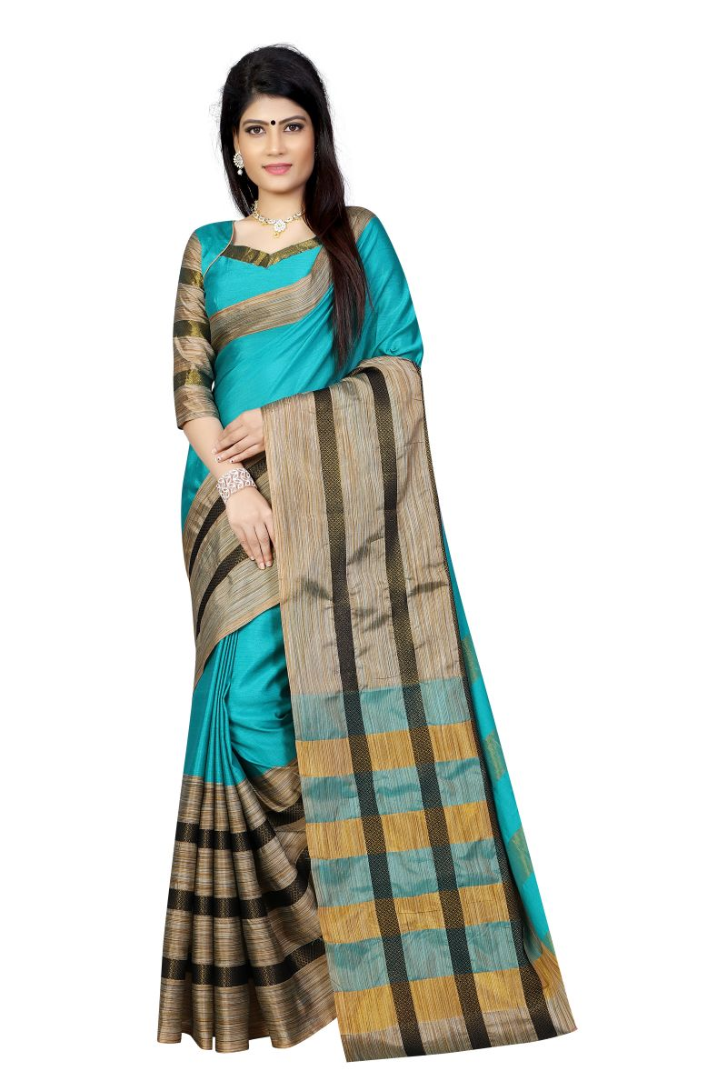 Buy Vedant Vastram Blue Colour Poly Silk Chanderi Printed Saree (code - Vvm_1029_blue_black) online