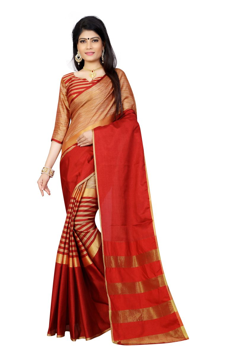 Buy Vedant Vastram Red Colour Poly Silk Chanderi Printed Saree (code - Vvm_1033_red) online