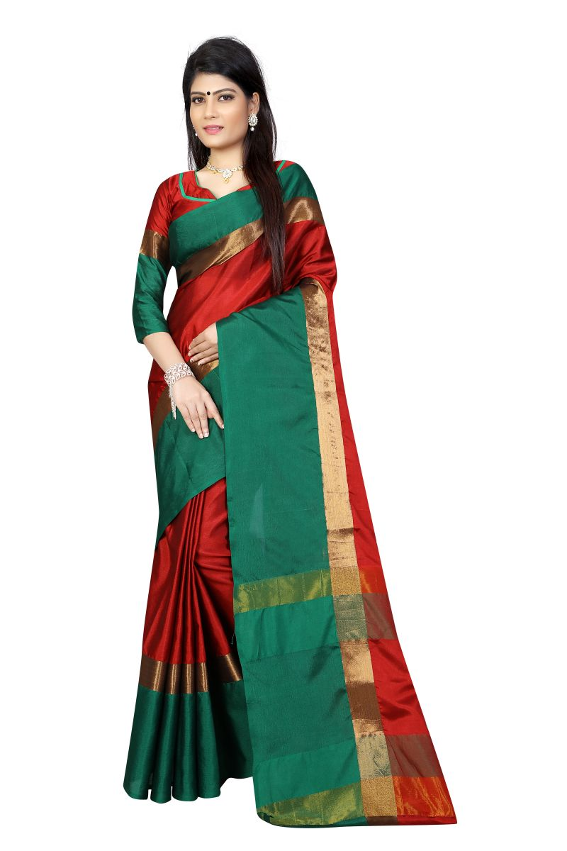 Buy Vedant Vastram Red Colour Poly Silk Chanderi Printed Saree (code - Vvm_1036_red _green) online