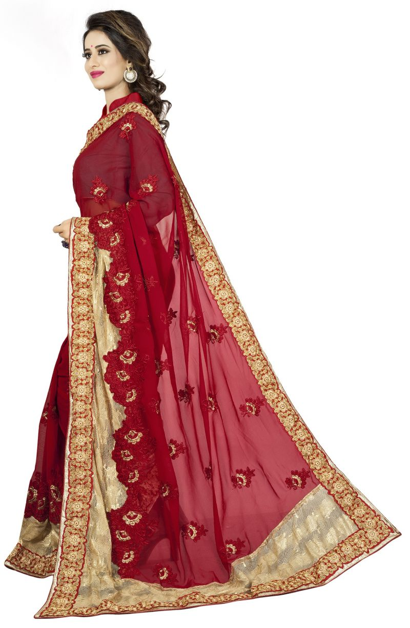 513a13c6cd Vedant Vastram Red Colour Georgette Embroidered Saree (code - Vvask_1104).  51%