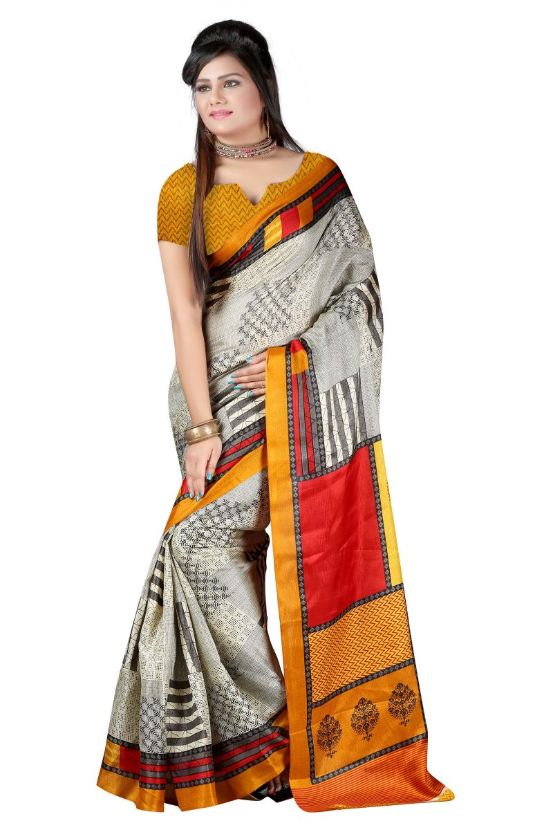 Buy Vedant Vastram Orange Colour Bhagalpuri Silk Printed Saree (code - Vvbs_padmini) online