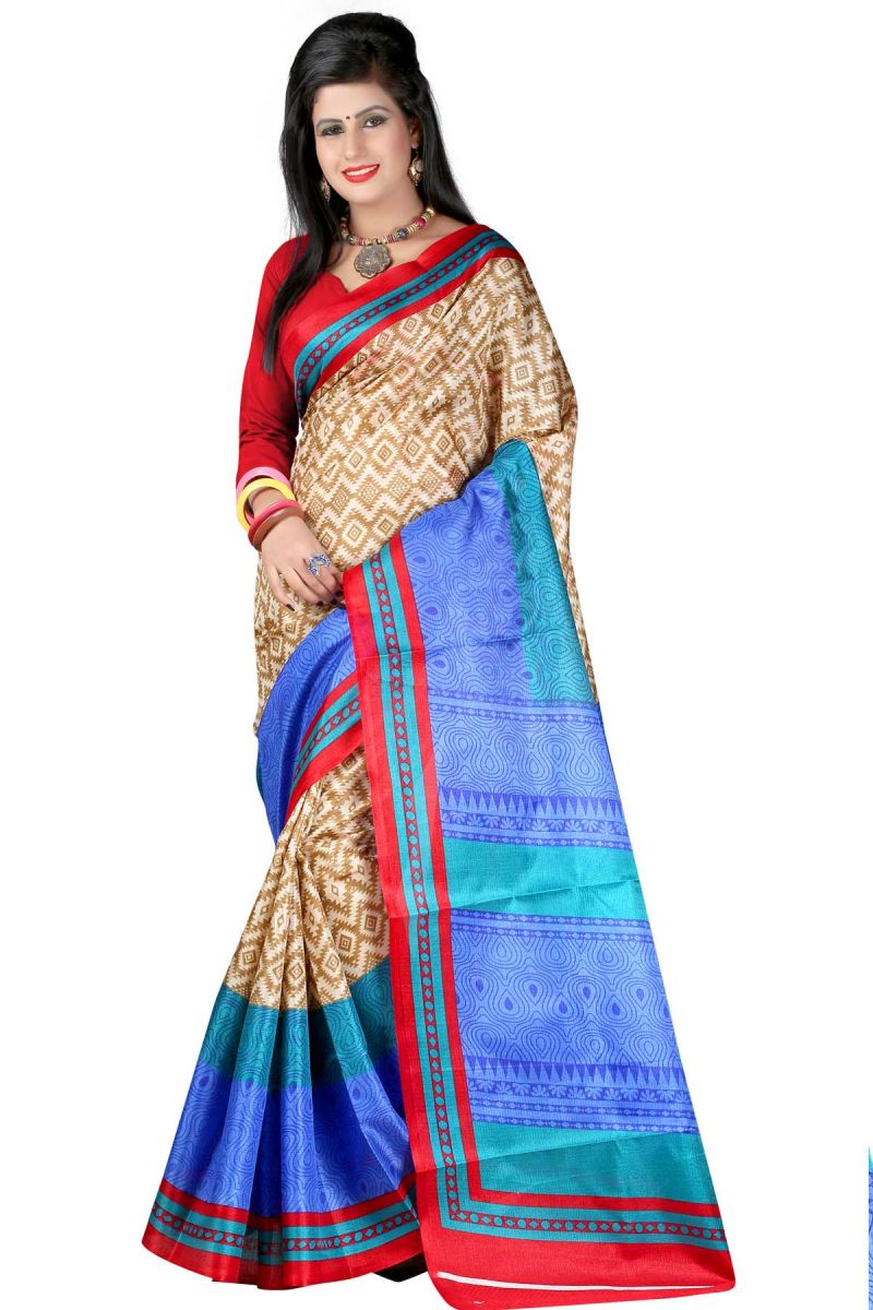 Buy Vedant Vastram Beige Colour Bhagalpuri Silk Printed Saree (code - Vvbs_chainprint) online