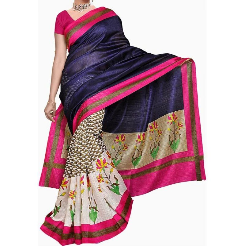 Buy Vedant Vastram Blue Colour Bhagalpuri Silk Printed Saree (code - Vvbs_rimzimblue) online