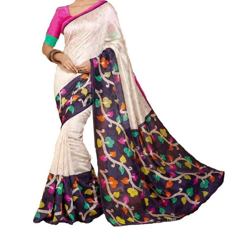 29a73fcf070 Buy Vedant Vastram White Colour Bhagalpuri Silk Printed Saree (code -  Vvbs whitevalley) online