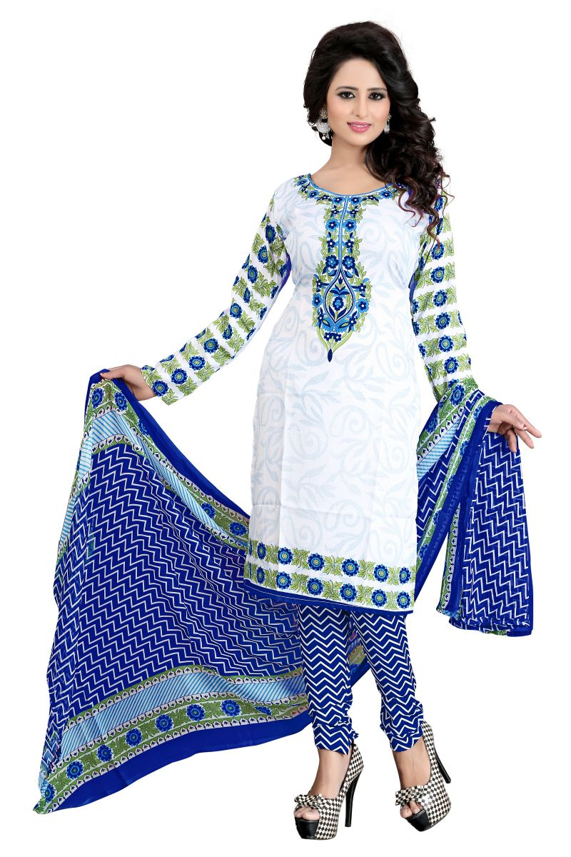 Buy Vedant Vastram Blue Colour Poly Cotton Unstitched Printed Dress Matrial (code - Vvdm_zarmarblue) online