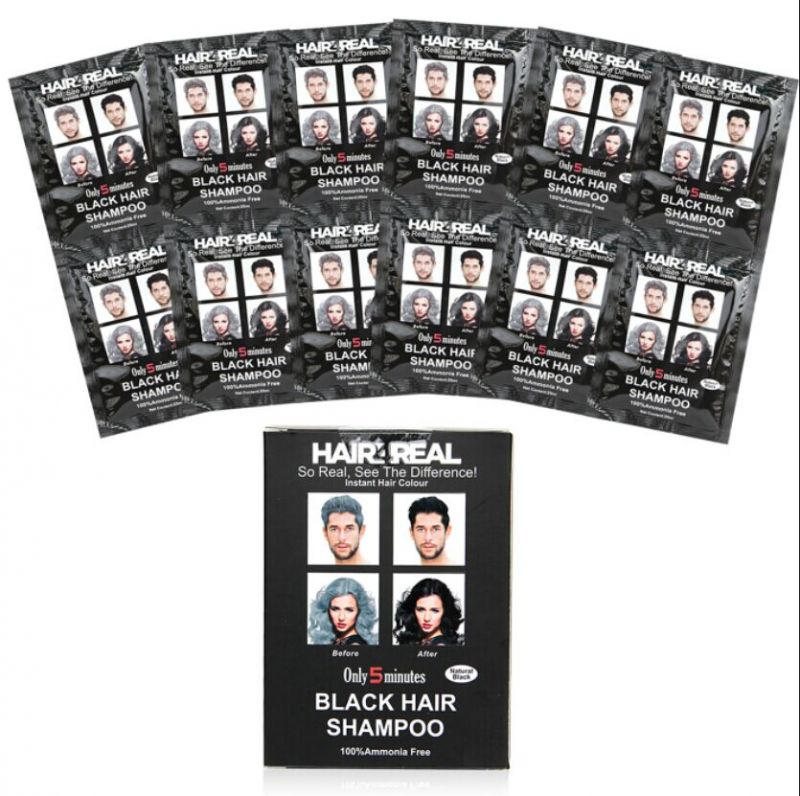 Buy Hair4real Hair Coloring Shampoo Black Set Of 12 12 (total ...