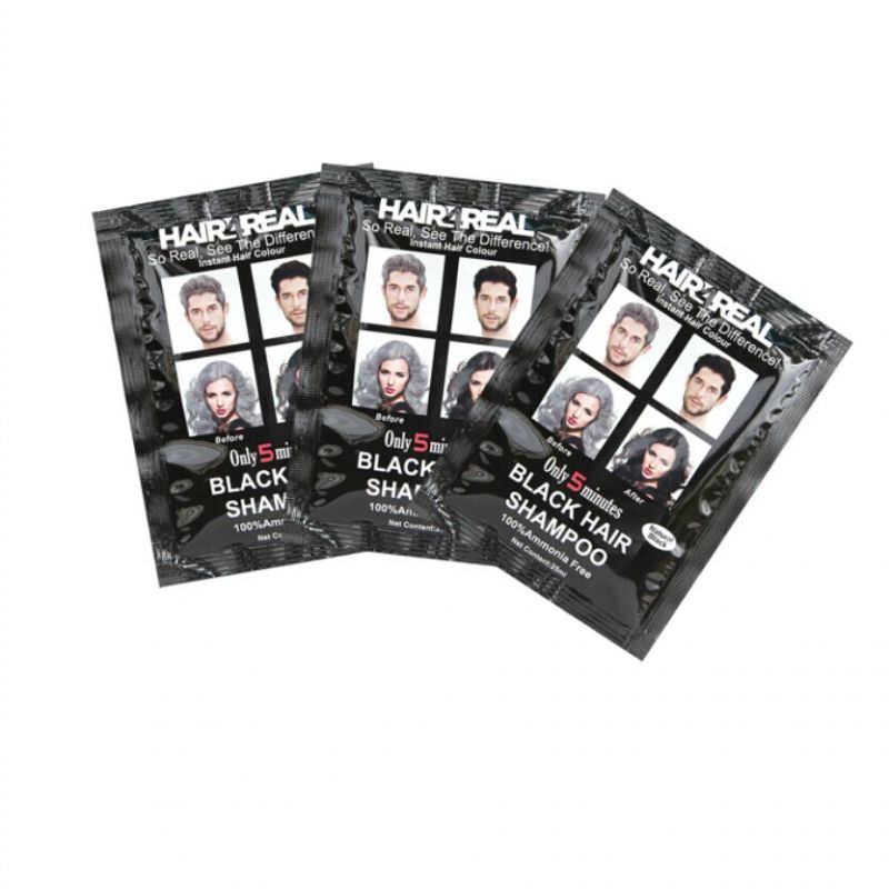 Buy Hair4real 5 Minutes Black Hair Shampoo Set Of 3 (75ml) With 3 Sets Of Gloves Free online
