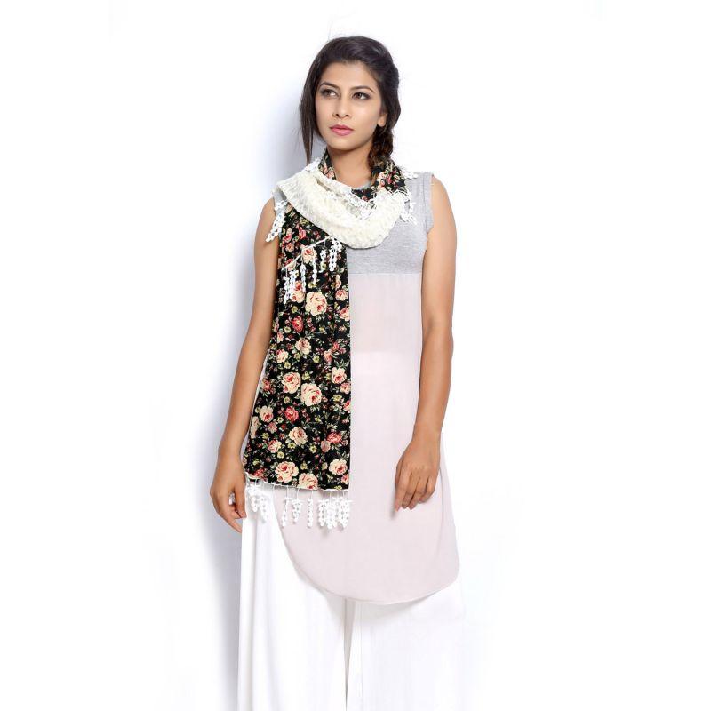 Buy Grishti Women's Vintage Lace Scarf Fossil3-multicolor online
