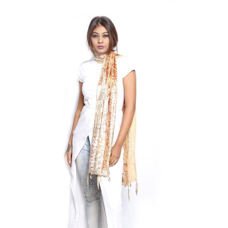 Buy Grishti Women's Metallic Stole Valvetino-fawn online