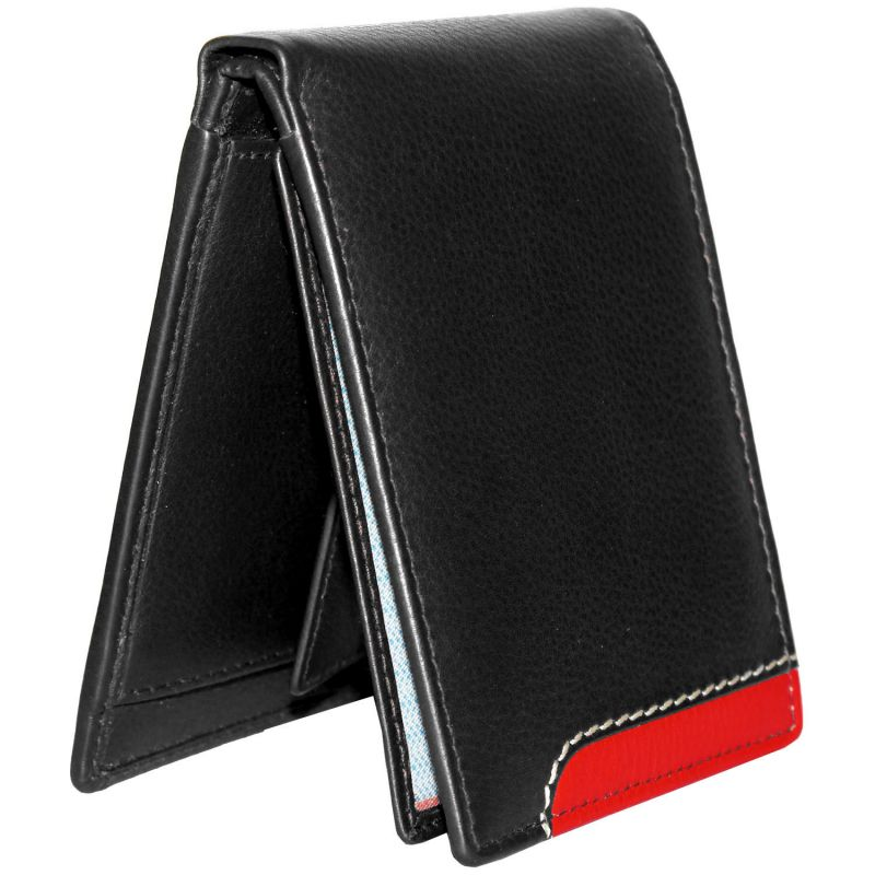 Buy Tamanna Men Black, Red Genuine Leather Wallet (4 Card Slots) online