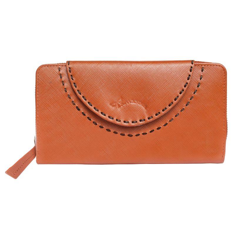 Buy Tamanna Women Orange Genuine Leather Wallet (10 Card Slots) online