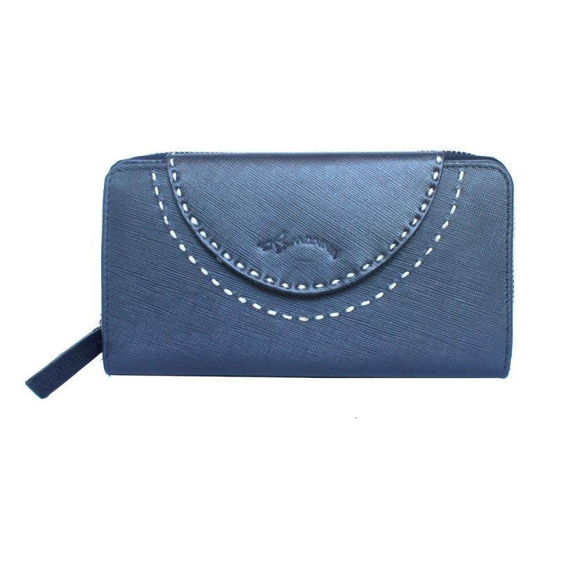 Buy Tamanna Women Blue Genuine Leather Wallet (10 Card Slots) online