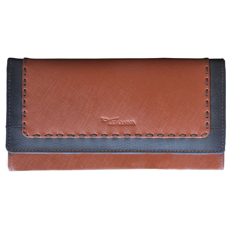 Buy Tamanna Women Tan, Grey Genuine Leather Wallet (8 Card Slots) online