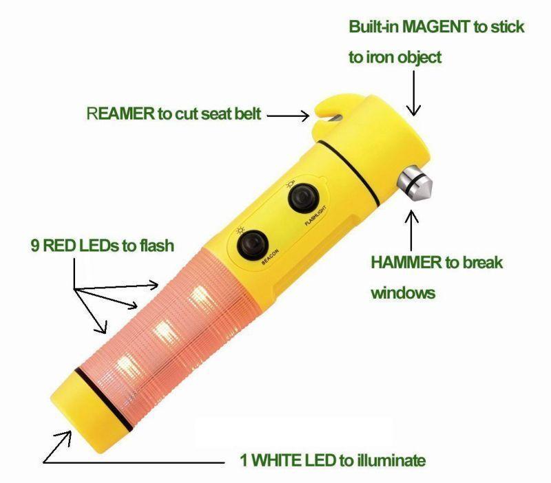 Buy 5 In 1 Emergency Light Car Hammer Flashlight Cutting Belt Magnet online