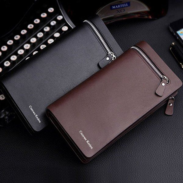 Buy Curewe Kerien Brand Men's Pu Leather Long Zipper Purse Business Wallet Gift Item online