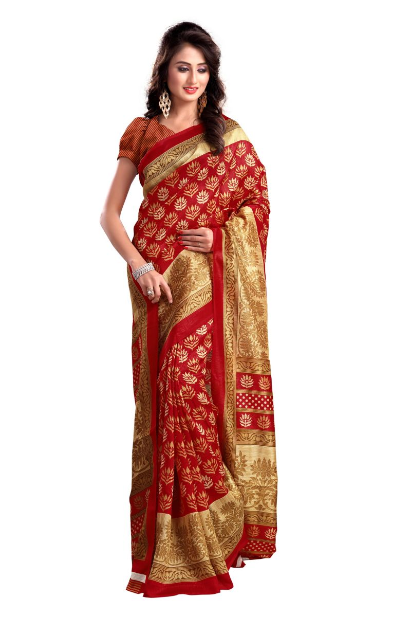 Buy Mahadev Enterprises Red Colour Bhagalpuri Silk Saree Meb_100 online