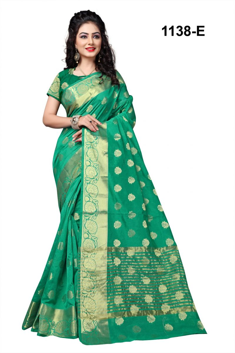 Buy Mahadev Enterpris Green Cotton Silk Saree With Blouse Rjm1138e online