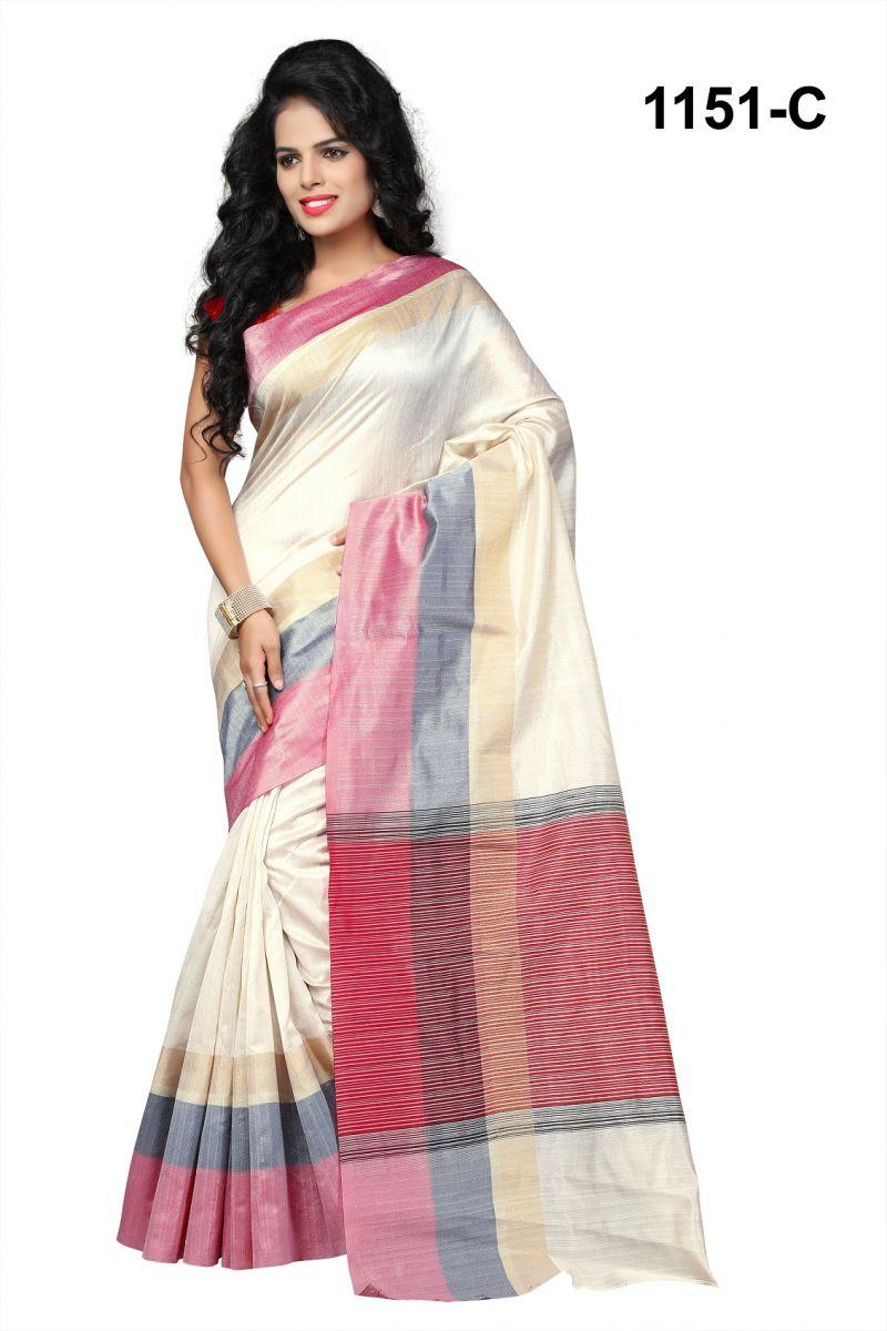 Buy Mahadev Enterprises White Cotton Silk Saree With Blouse Rjm1151c online