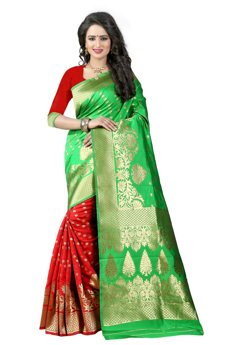 Buy Mahadev Enterprises Green & Red Cotton Jacquard Saree With Blouse 2bvm16 online