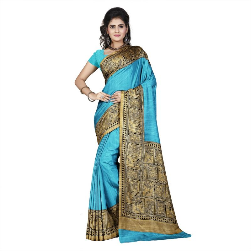 Buy Mahadev Enterprises Sea_green & Beige Color Art Cotton Silk Saree With Unstitched Blouse Pics Kak317b online