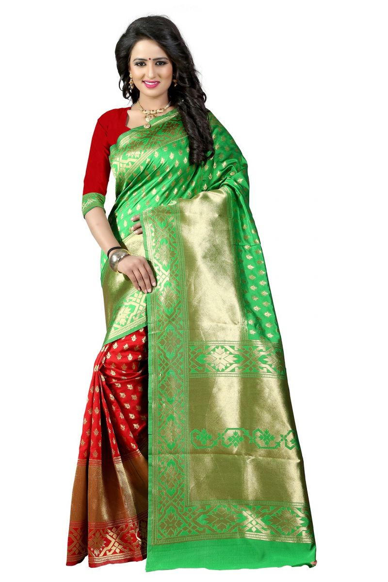 Buy Mahadev Enterprises Green & Red Cotton Jacquard Saree With Blouse 3bvm24 online
