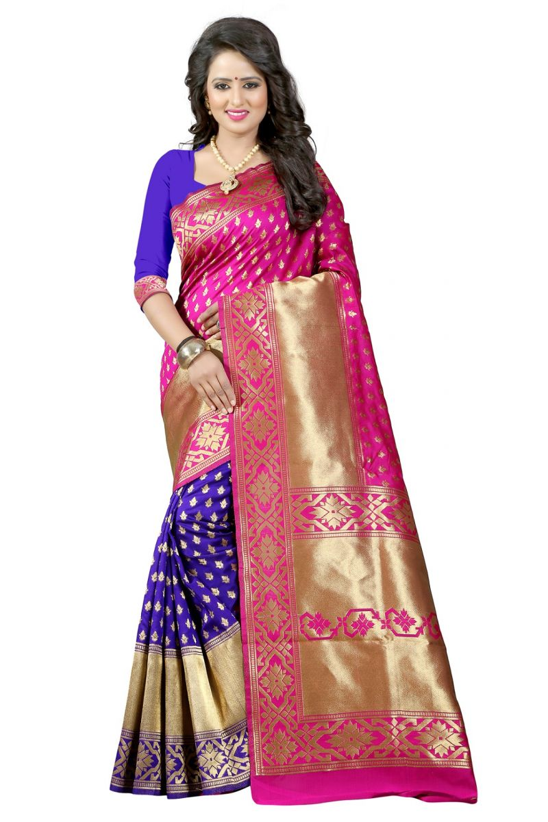 Buy Mahadev Enterprises Pink & Blue Cotton Jacquard Saree With Blouse 3bvm25 online