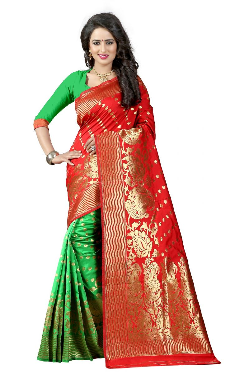 Buy Mahadev Enterprises Red & Green Cotton Jacquard Saree With Blouse 4bvm37 online