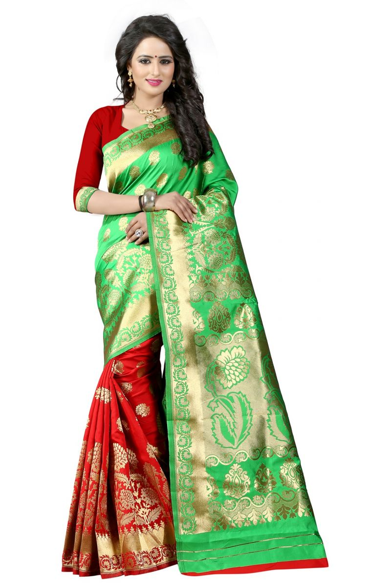 Buy Mahadev Enterprises Green & Red Cotton Jacquard Saree With Blouse 5bvm40 online