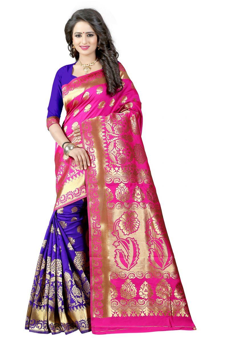 Buy Mahadev Enterprises Pink & Blue Cotton Jacquard Saree With Blouse 5bvm41 online