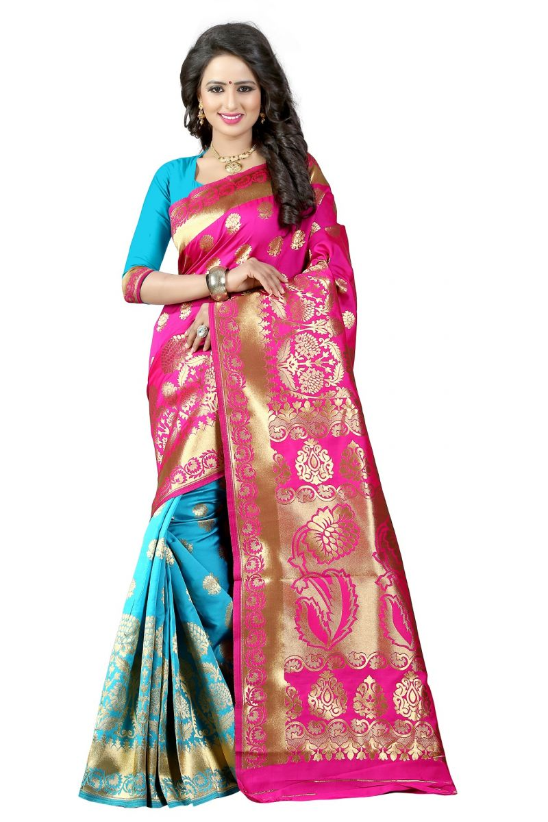 Buy Mahadev Enterprises Pink & Firozi Cotton Jacquard Saree With Blouse 5bvm42 online