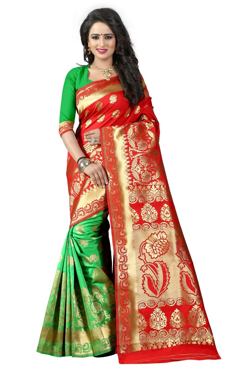 Buy Mahadev Enterprises Red & Green Cotton Jacquard Saree With Blouse 5bvm45 online