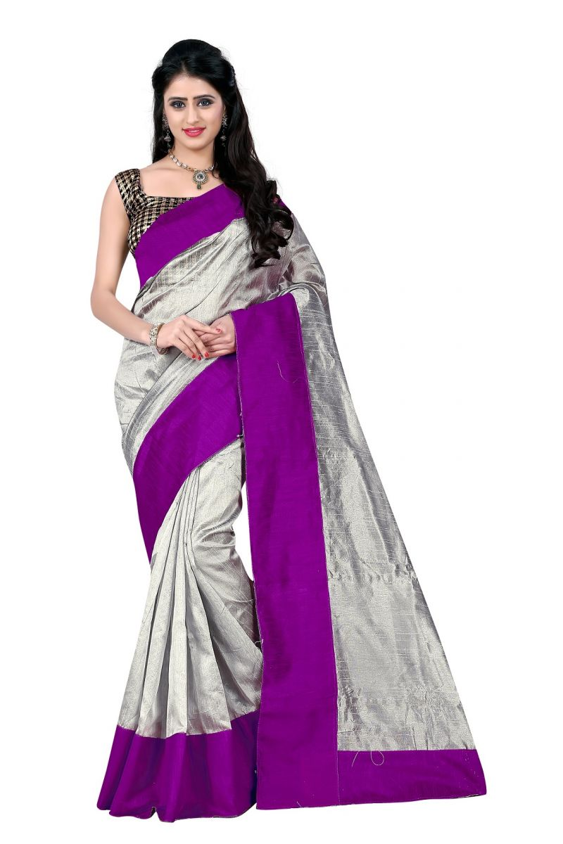 Buy Mahadev Enterprises Grey & Wine Art Cotton Silk Saree With Blouse _ Mask901r online