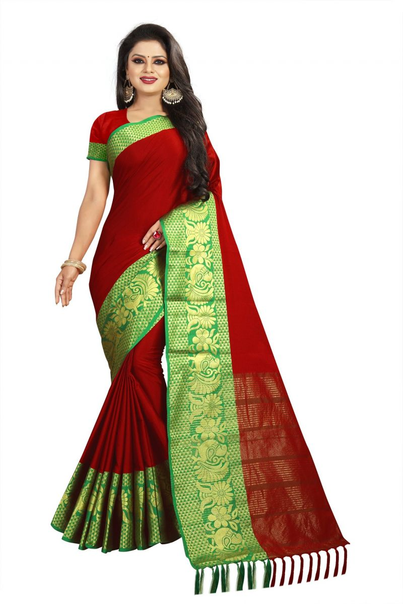 1e057fdd6dfb42 Buy Mahadev Enterprise Red Cotton Saree With Running Blouse Online ...