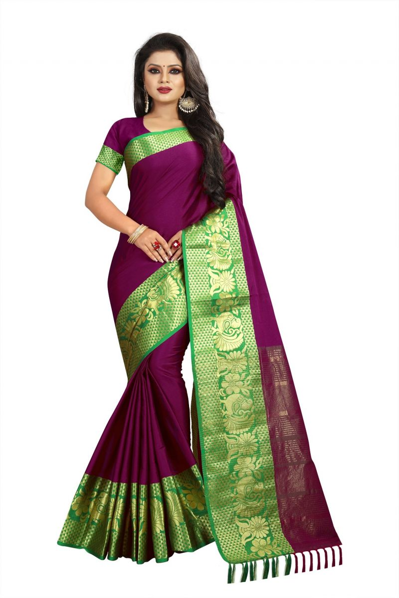Buy Mahadev Enterprises Mulberry Cotton Saree With Running Blouse online