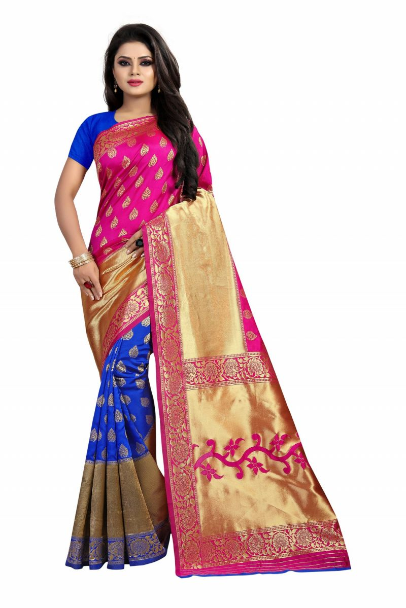 Buy Mahadev Enterprise Pink And Blue Banarasi Silk Rich Pallu 2 Colour saree With Running Blouse Pic online