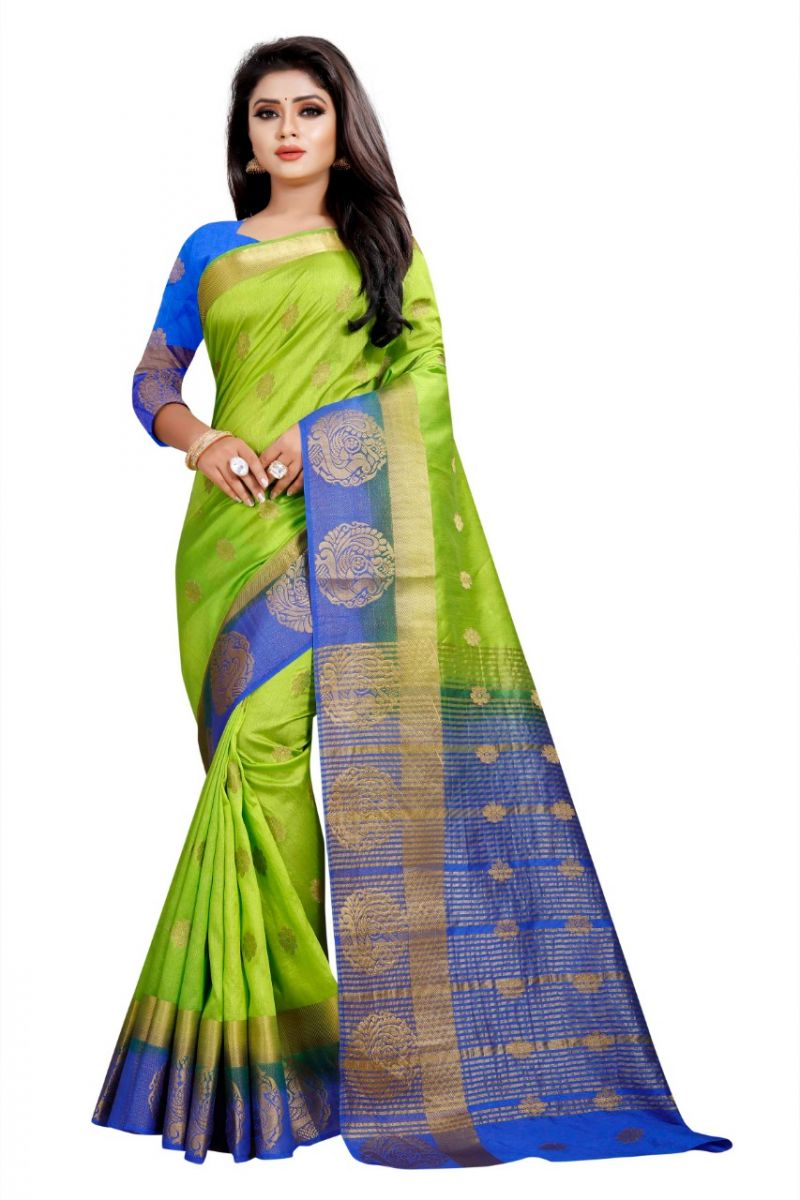 Buy Mahadev Enterprises Green And Blue Kanjiwaram Silk Saree With Running Blouse Pics online