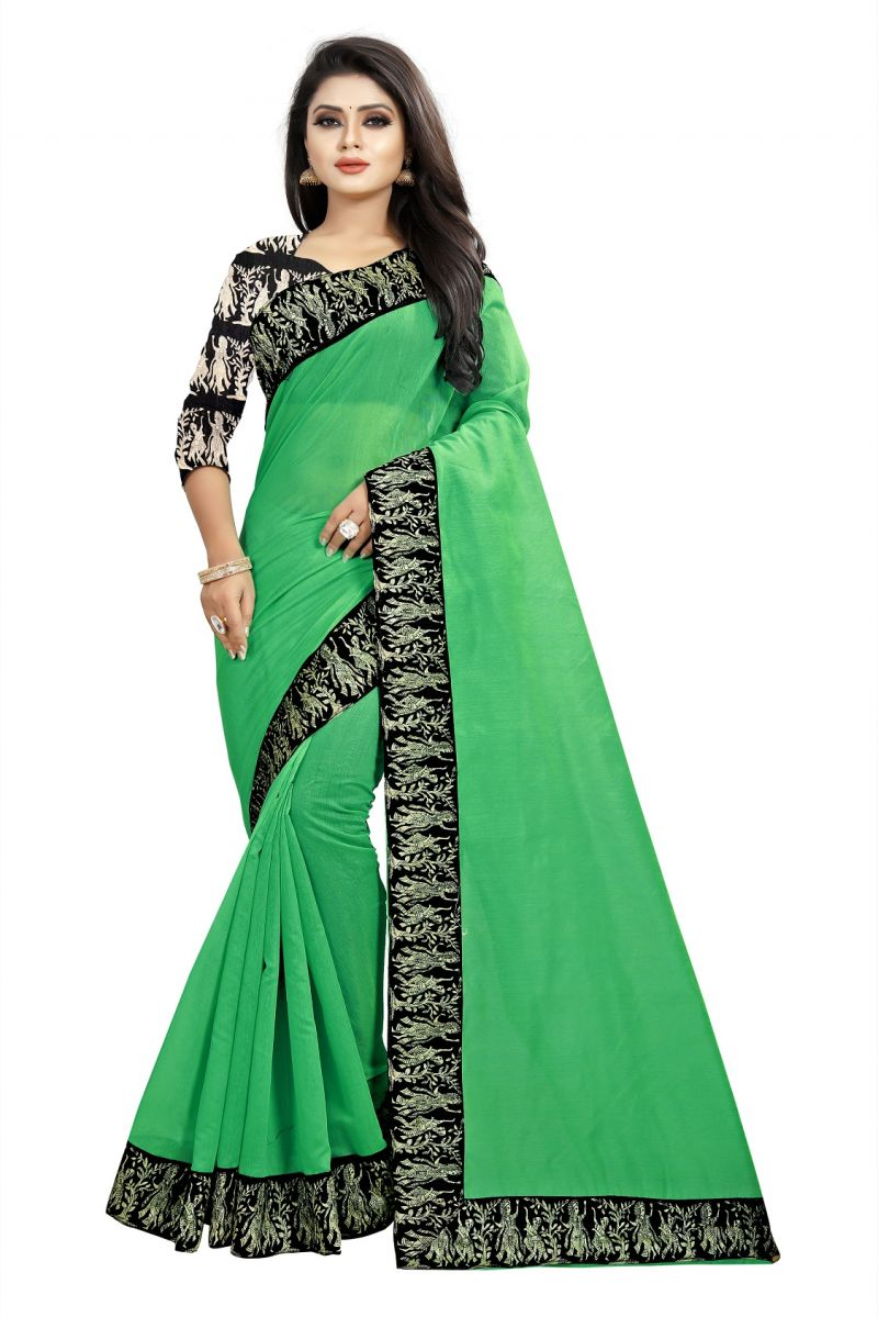 Buy Mahadev Enterprises Green Chanderi Cotton Saree With Running Blouse Pics online